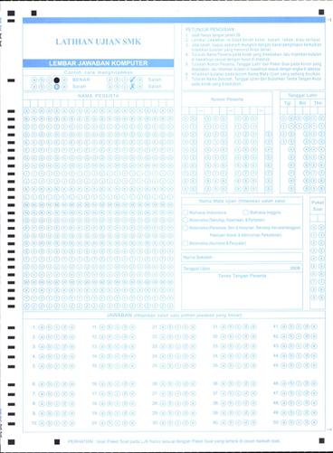 Lembar Jawaban Komputer (LJK) untuk latihan ujian SMP/MTs, SMA/MA368